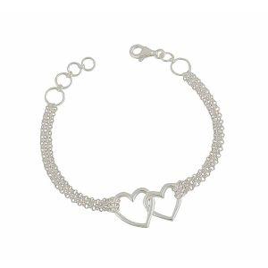 Link Open Heart Silver Chain Bracelet