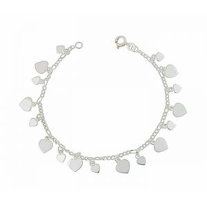 Heart Charm Silver Chain Bracelet