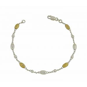 Diamond Cut Gold Plated Oval Bead Silver Bracelet