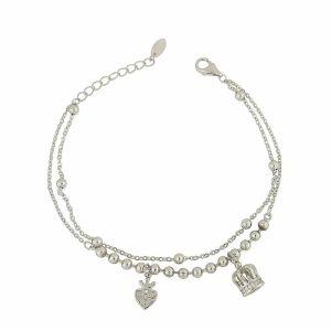 Crowned Charm Dual Silver Bracelet