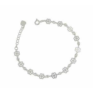 Daisy Flower Silver Chain Bracelet