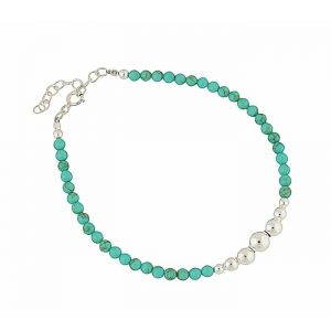 Turquoise Bead Sterling Silver Bracelet