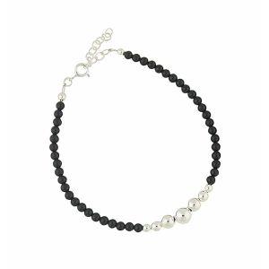 Black Onyx Bead Sterling Silver Bracelet