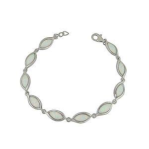 Almond Link White Opal Bracelet