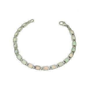 White Opal Petite Square Bracelet