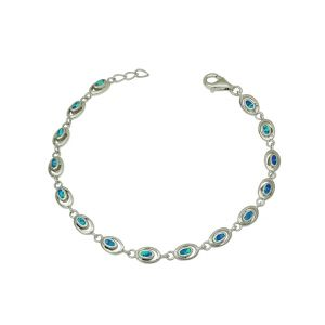 Blue Opal Oval Silver Bracelet