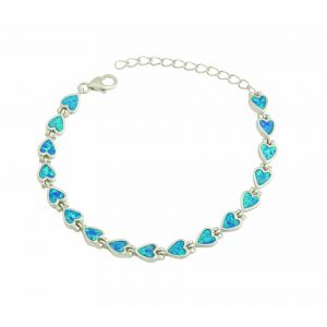 Love Heart Blue Opal Bracelet