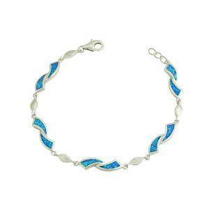 Obverse Blue Opal Silver Bracelet