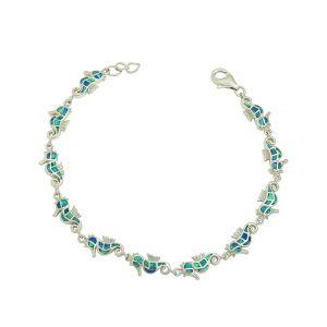 Blue Opal Seahorse Bracelet