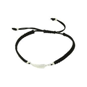 Black Cord Silver Feather Adjustable Bracelet
