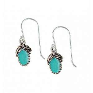 Opal Leaf Sterling Silver Turquoise Earrings