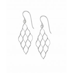 Honeycomb Silver Drop Earrings