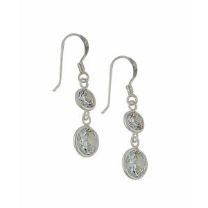 Round Cubic Zirconia Sterling Silver Drop Earrings