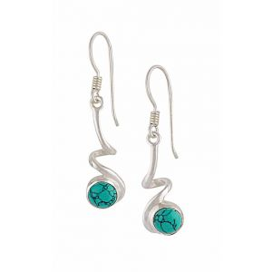 Twisted bar Sterling Silver Turquoise Earrings