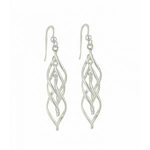 Interlink Oval Silver Drop Earrings