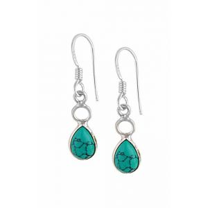 Pear Shaped Silver Turquoise Earrings |
