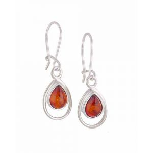 Teardrop Silver Amber Earrings - Amber Jewellery