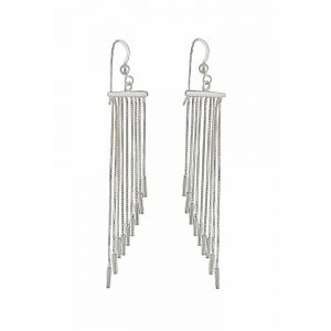Sterling Silver Rope Tassel Graduated Long Drop Earrings
