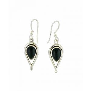 Black Onyx and Open Water Drop Silver Earrings