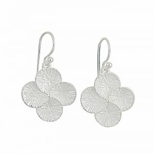 Silver Textured Four Leaf Clover Drop Earrings
