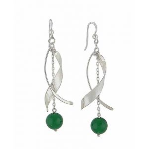 Sterling Silver Curved Bar and Green Onyx Long Drop Earrings
