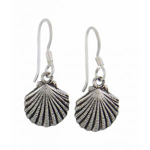 Oxidized Shell Silver Drop Earrings