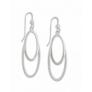 Twin Oval Silver Drop Earrings