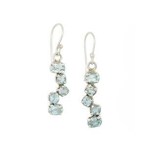 Blue Topaz  Scatter Drop Earrings