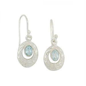 Etched Silver Blue Topaz Drop Earrings