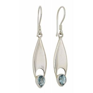 Elongated Teardrop Blue Topaz Drop Earrings