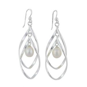 Dual Silver Teardrop and Freshwater Pearl Drop Earrings