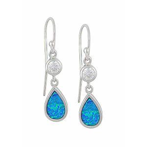 Blue Opal Crystal Mount Teardrop Silver Earrings