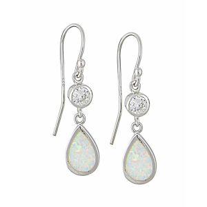 White Opal Crystal Mount Teardrop Silver Earrings