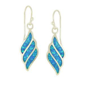 Fluid Diamond Design Blue Opal Drop Earrings | The Opal