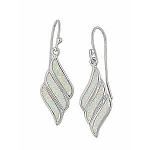 Fluid Diamond Design White Opal Drop Earrings | The Opal