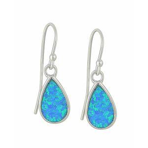 Blue Opal Silver Teardrop Earrings