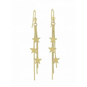 18k Gold Plated Shooting Star Long Dangle Earrings