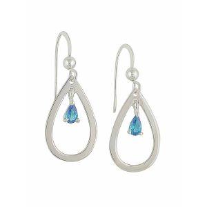 Open Teardrop and Small Blue Topaz Silver Dangle Earrings