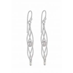 Twist and Silver Ball Drop Earrings | The Opal Jewellery