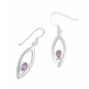 Oval Amethyst Stone Drop Earrings