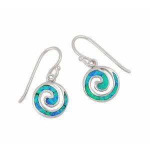 Blue Lab Opal Coil Drop Earrings