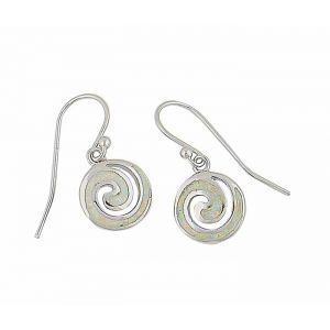 White Lab Opal Coil Drop Earrings