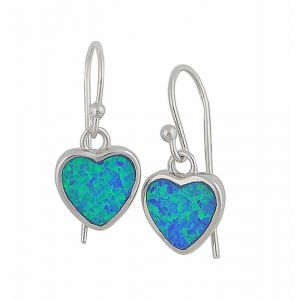 Blue Lab Opal Silver Heart Earrings