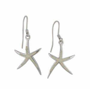 White Opal Starfish Silver Earrings