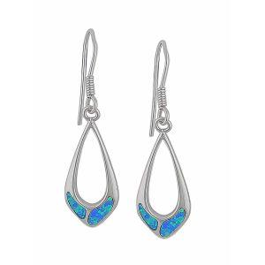 Blue Opal Long Silver Drop Earring