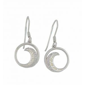 White Opal and Cubic Zirconia Spiral Drop Earrings