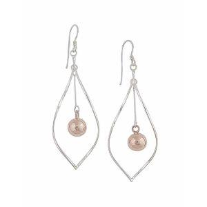 Open Teardrop and Rose Gold Ball Drop Earrings