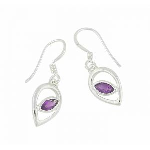 Teardrop and Amethyst Stone Drop Earrings