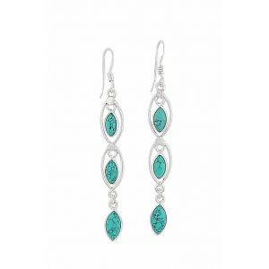 Triple Marquise Stone Turquoise Earrings