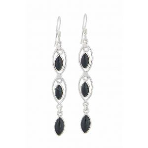 Triple Marquise Black Onyx Earrings